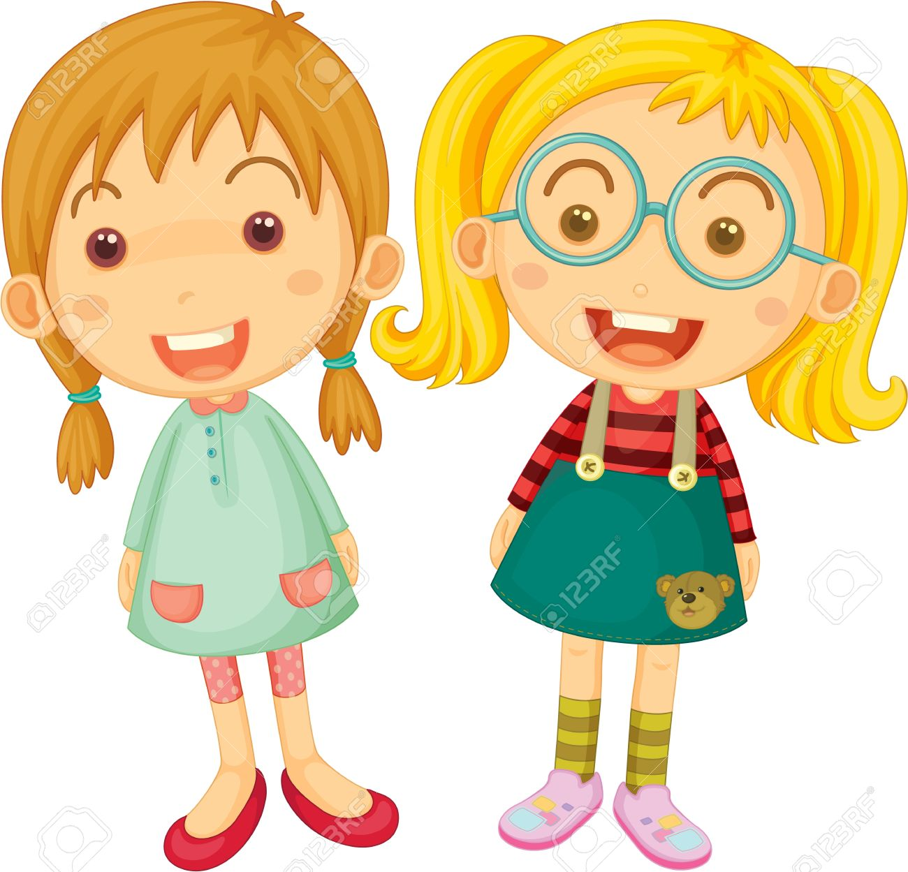 Two Little Girls Clipart.