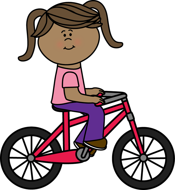 Clipart girl riding bicycle.