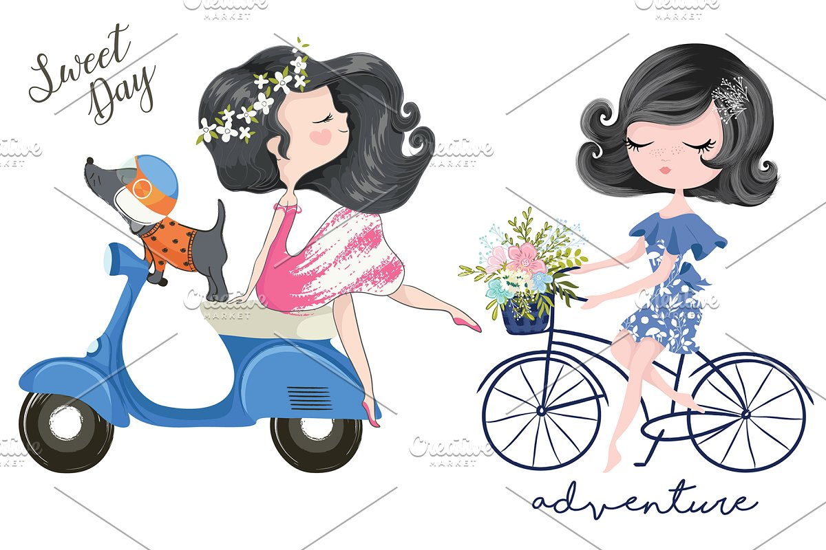 Cute girl vector.Cute girl with bike.