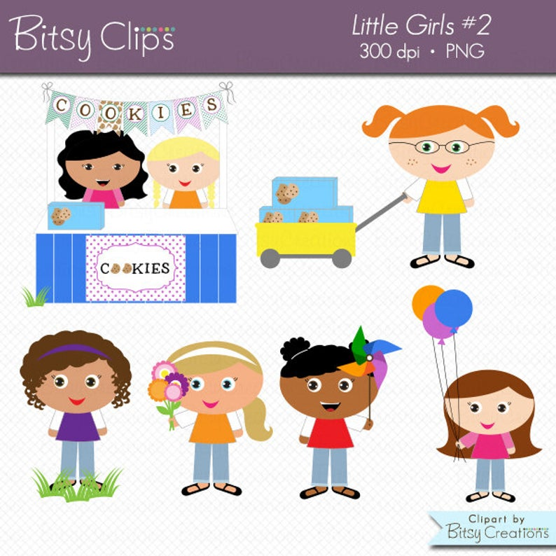 Little Girls Clipart Set.