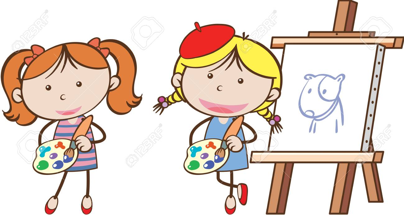 Two girls painting on canvas illustration.