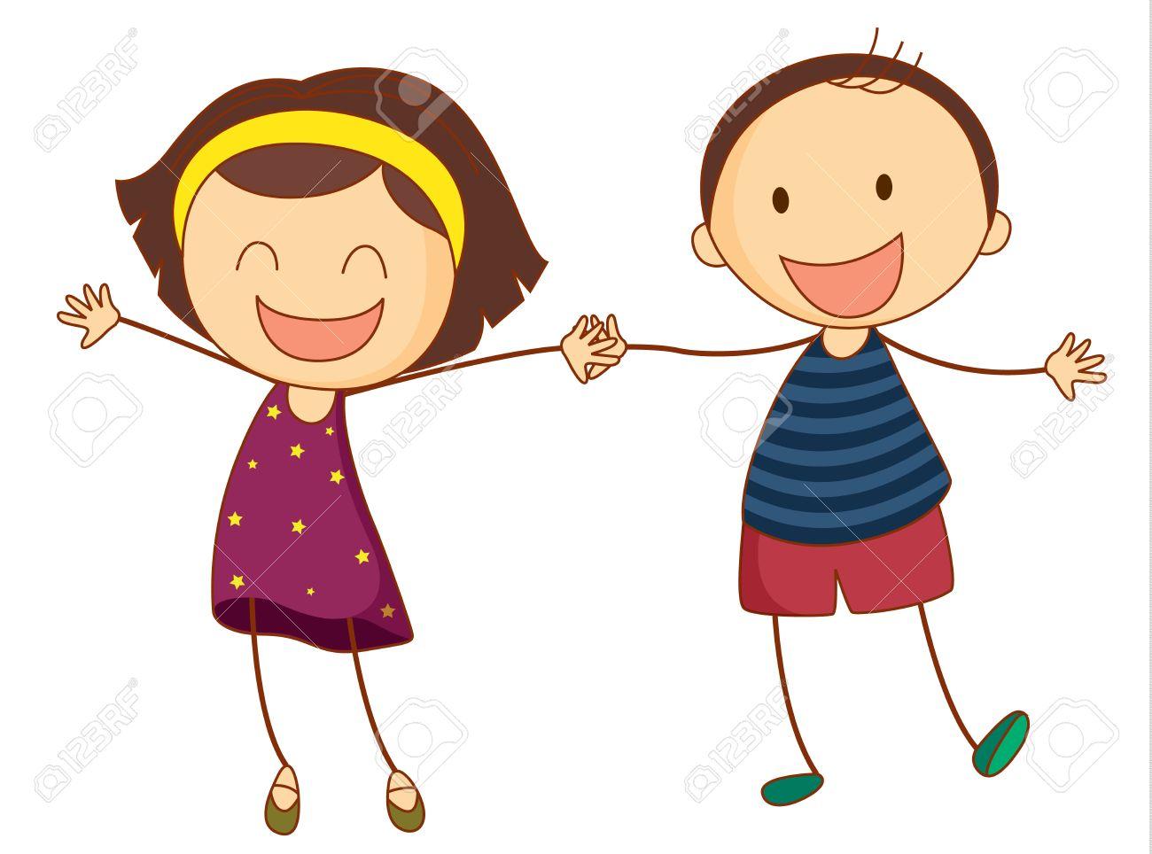 Illustration of 2 girls holding hands.