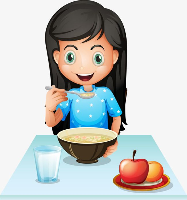 Girl Eating Breakfast, Breakfast Clipart, Apple, Porridge.