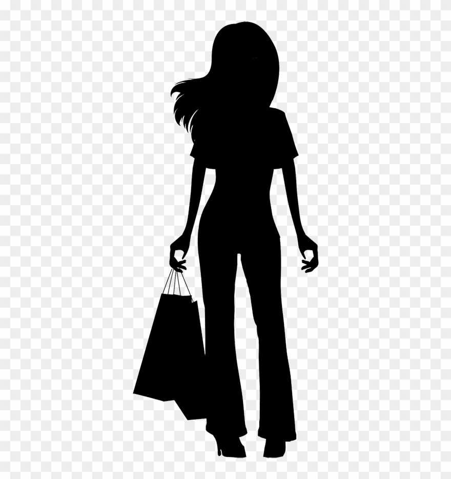 Girl With Shopping Bags Silhouette.