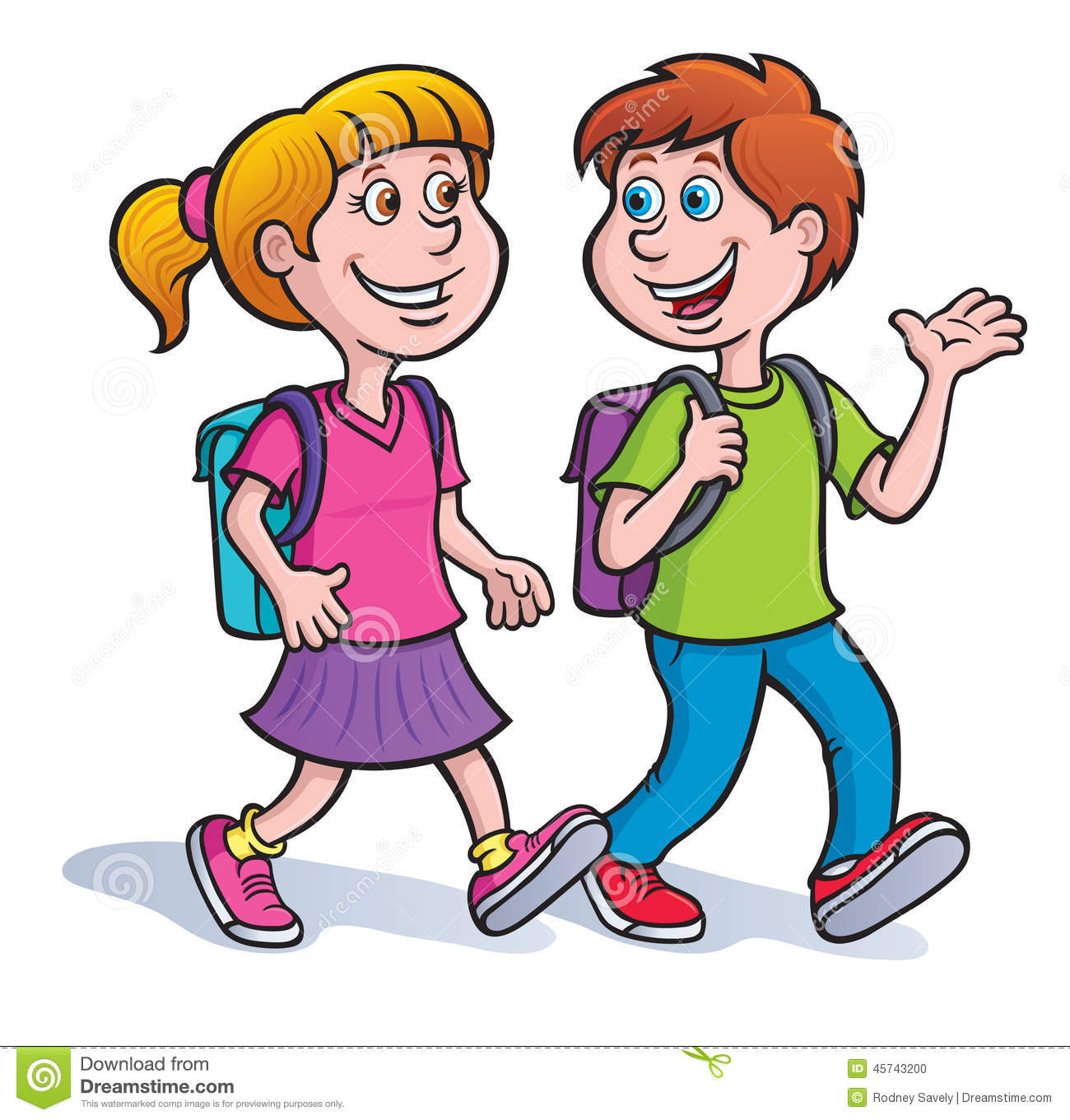 2 Girls Talking In A School Bus Clipart.