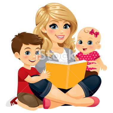 A Mom/babysitter/nanny reading with two children..