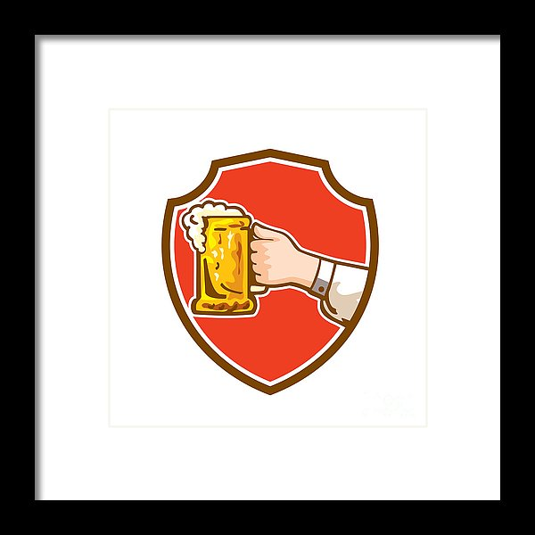 Hand Holding Mug Beer Crest Retro Framed Print.