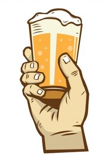 Hand holding beer bottle drink me now Vector.