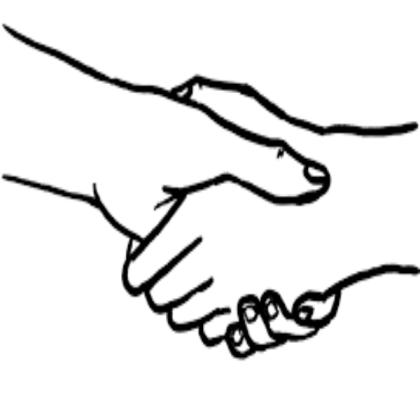 2 hands shaking.