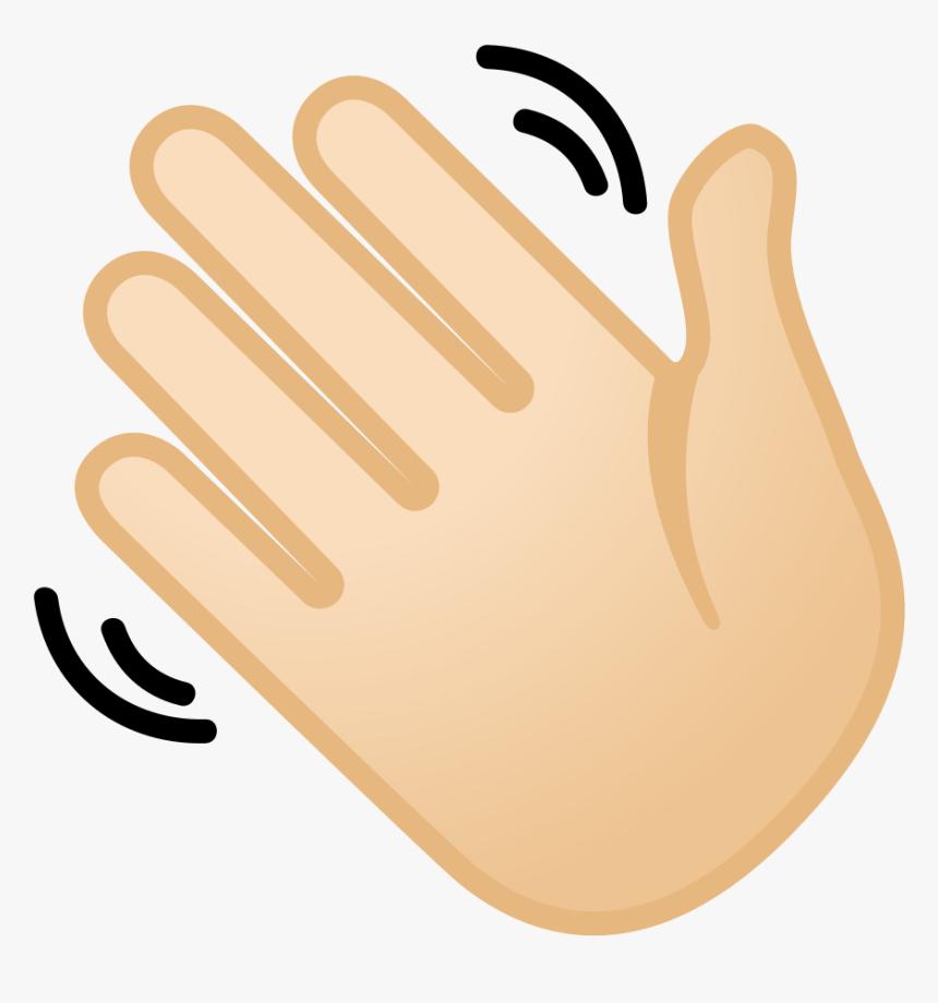 Waving Hand Light Skin Tone Icon.