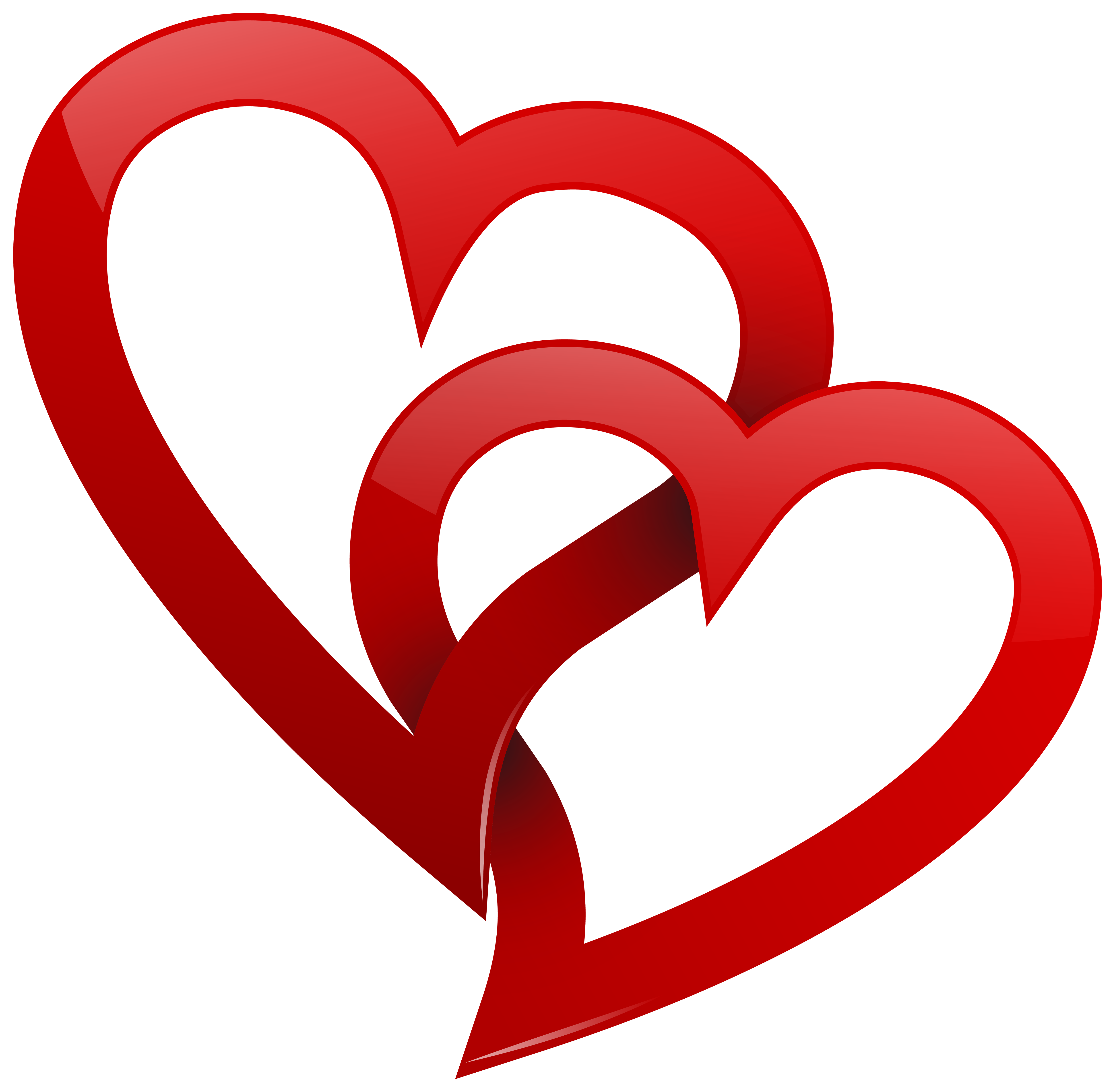 Two Red Hearts PNG Clipart.