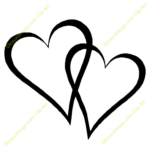 Two Hearts Wedding Clipart.