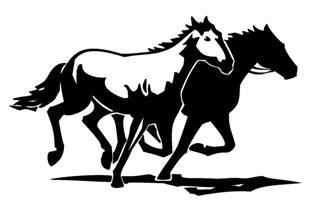 2 Horses Running Decal Sticker.