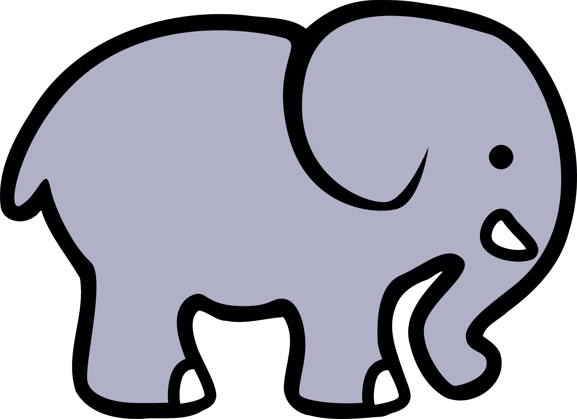 Elephant clip art black and white free clipart 2.