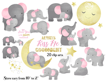 Cute Mommy and baby elephant cliparts in 20 styles, always kiss me goodnight.