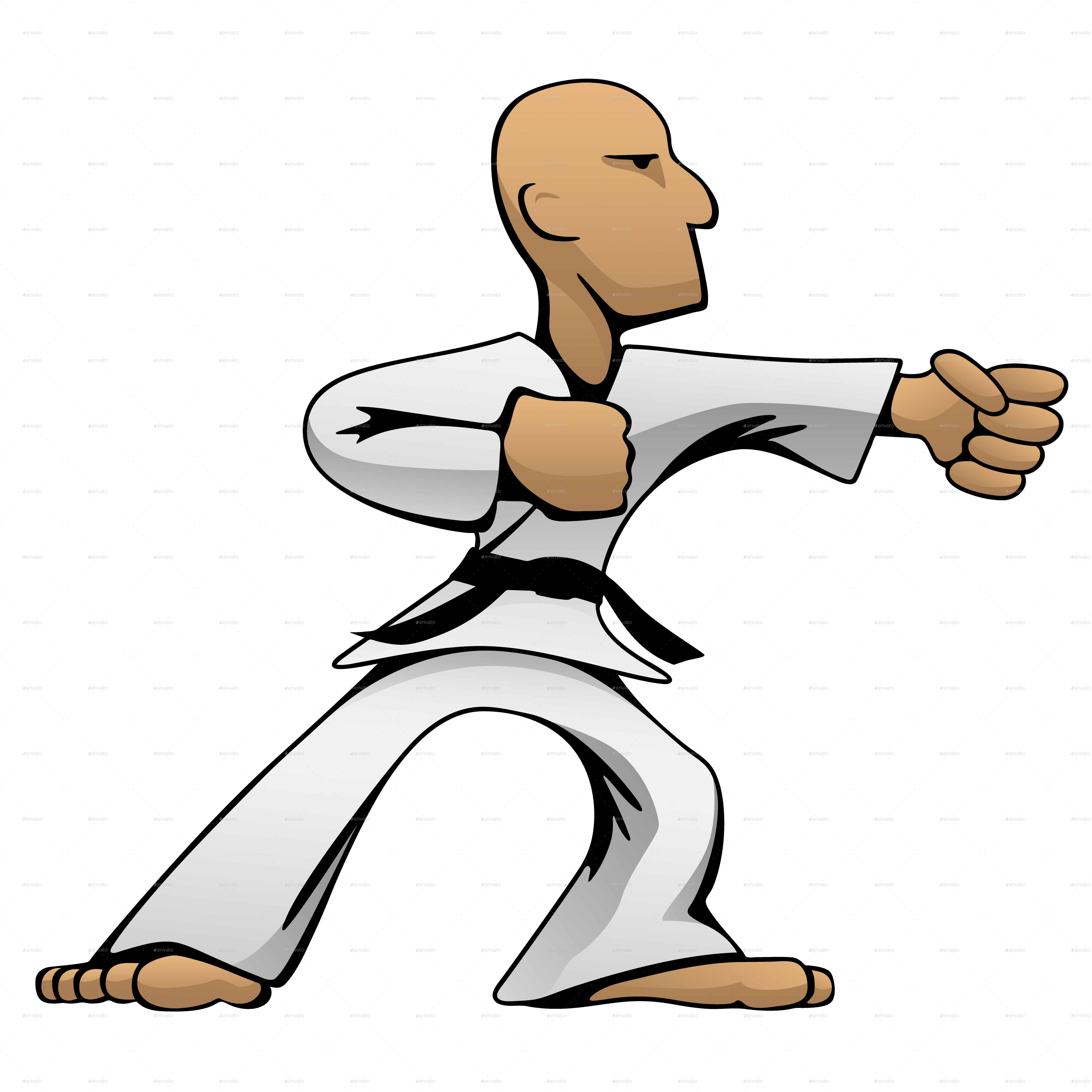 Martial Arts Karate Guy Cartoon Vector Illustration.