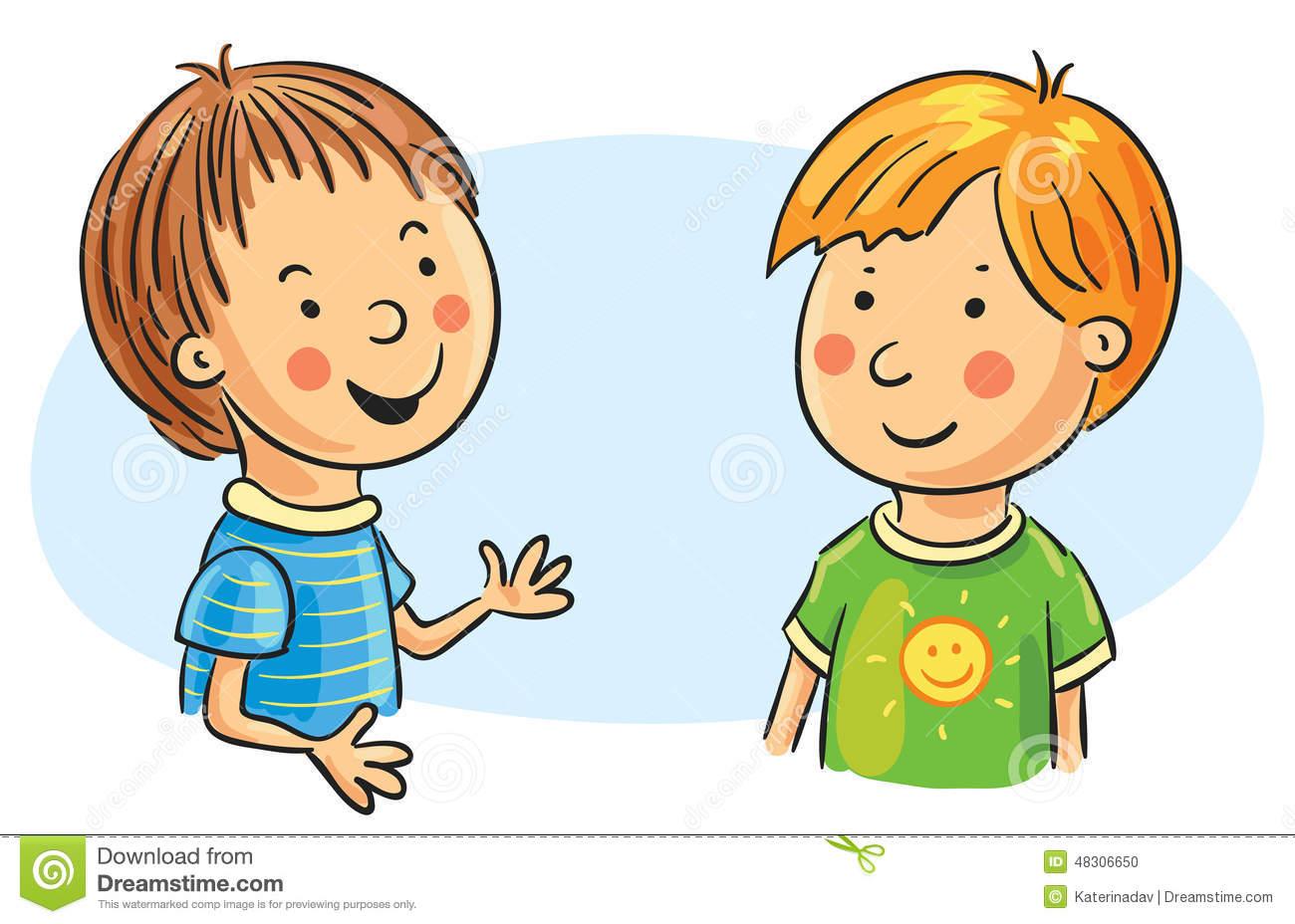 2 Kids Talking Clipart.