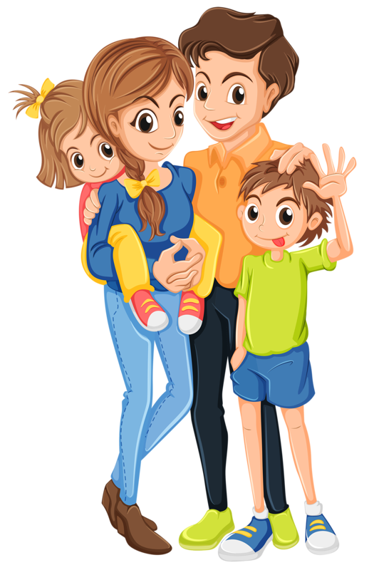 Family With 2 Kids Clipart.