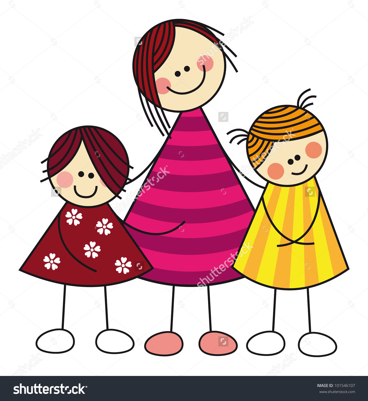 Mother And Two Daughters Clipart.