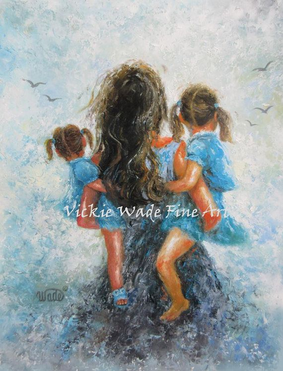 Mother Two Daughters Art Print, mother paintings, mom, two.