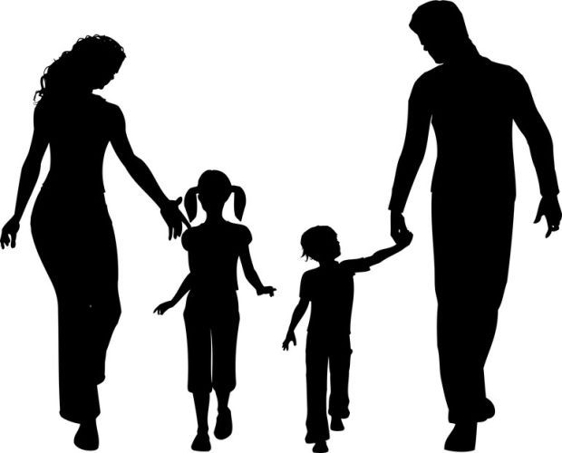 Mom With 2 Kids Silhouette.