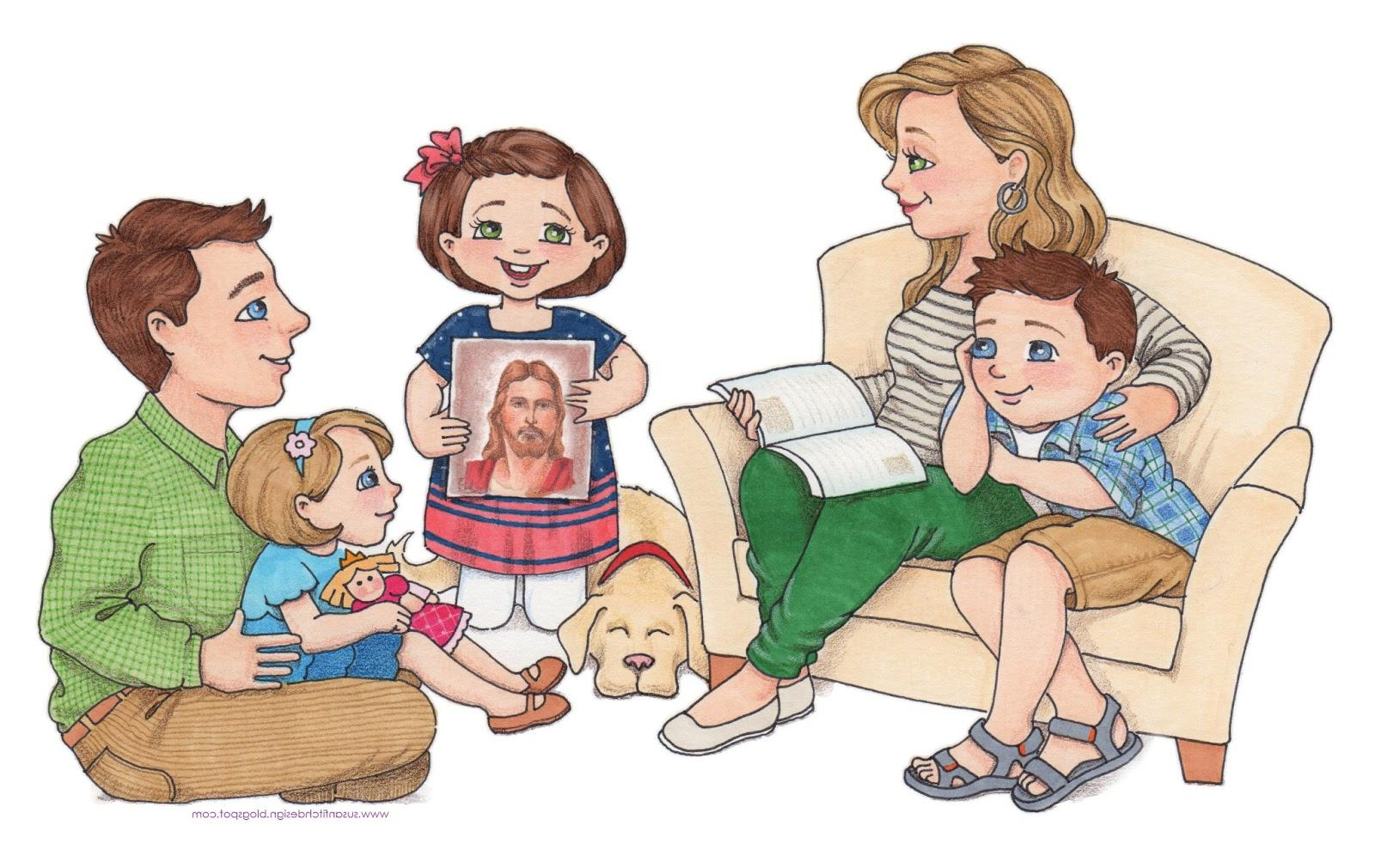 Filipino Family Praying Together Clipart.