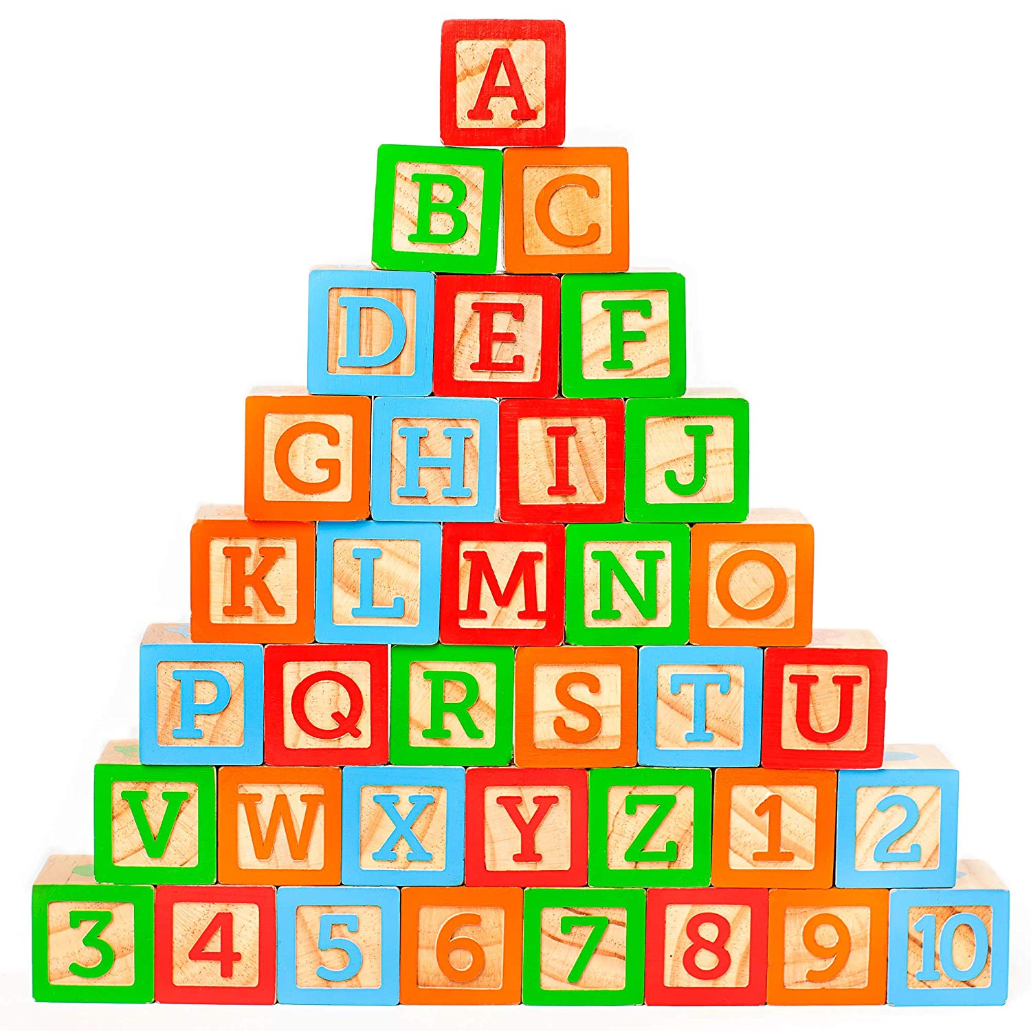 """ABC Wooden Building Blocks for Baby. Large (1 ¾"""" ) Jumbo Size w/ Letters,  Numbers (1, 2, 3, etc) and Pictures. Stacking Wood Toy for Toddlers that."""
