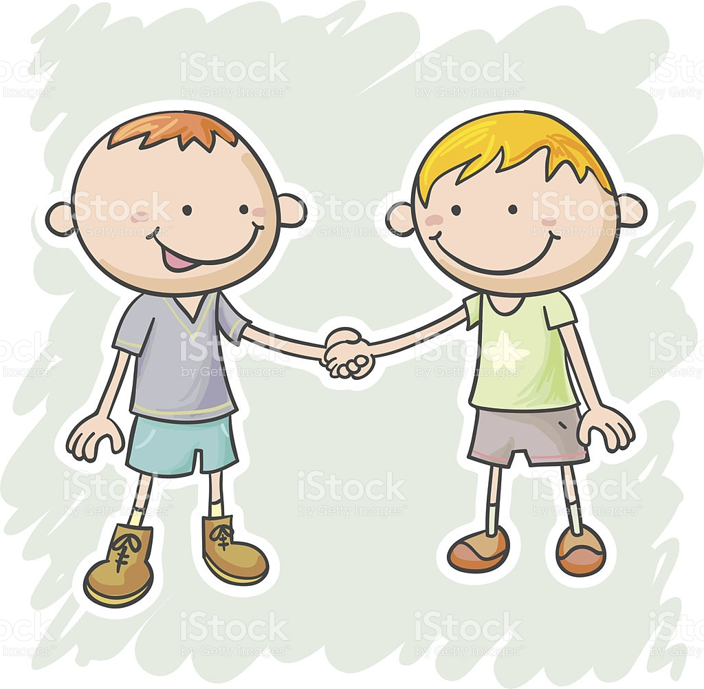 Two Children Holding Hands Clipart.