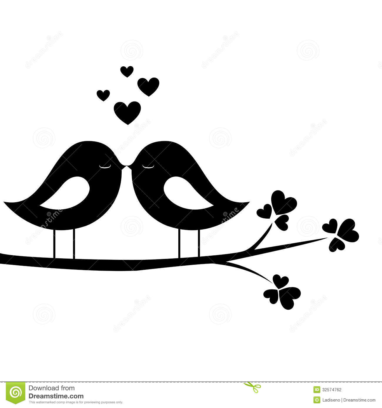 1922 Love Birds free clipart.