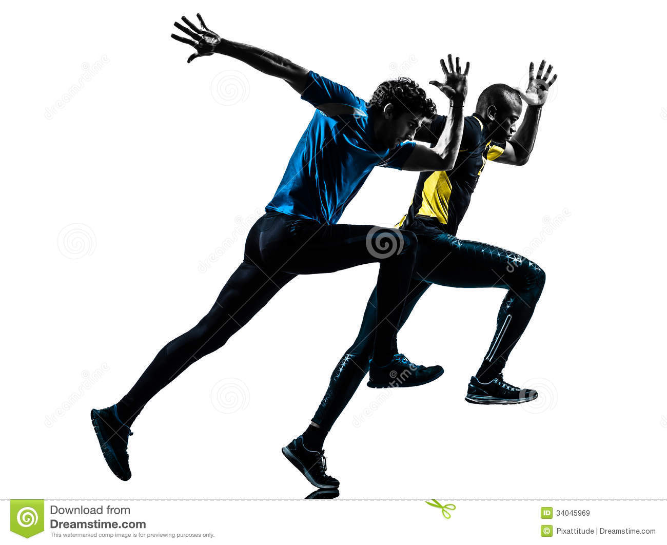 Two People Running Clipart.