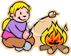 Camper clipart roasting marshmallow, Camper roasting.