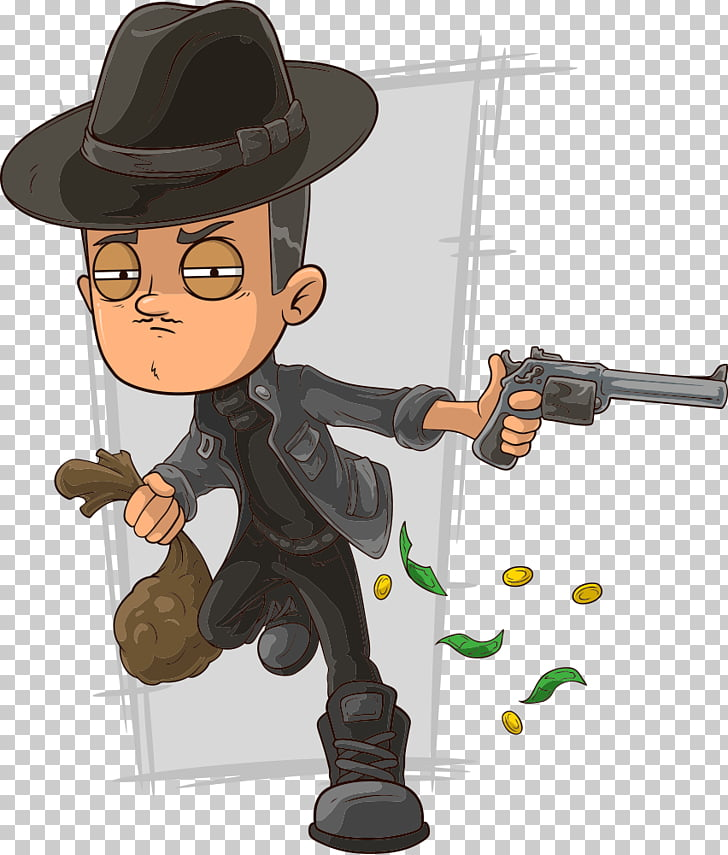 Bank robbery Cartoon , man robbery PNG clipart.