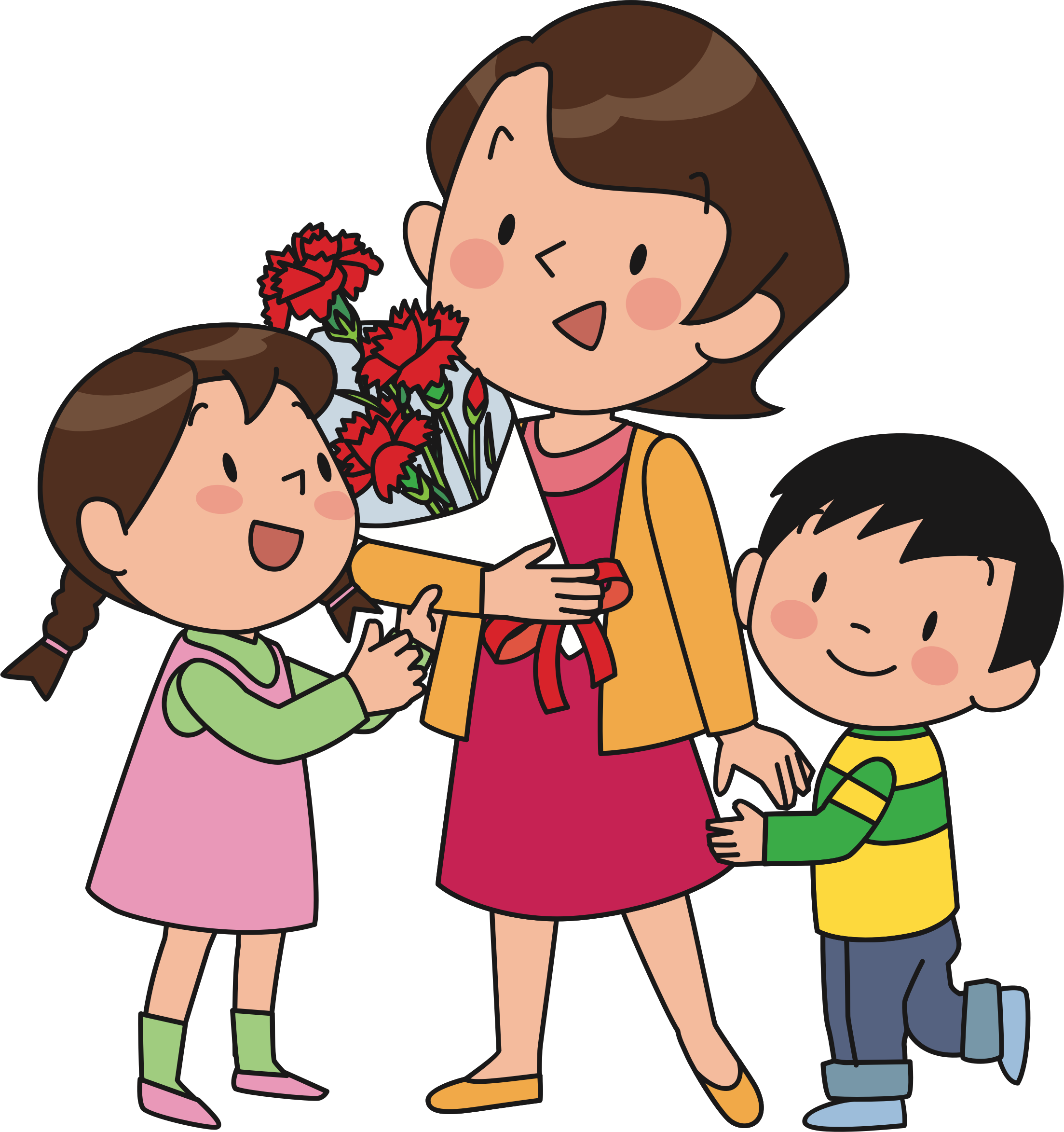 Child Helping Mother Clipart.