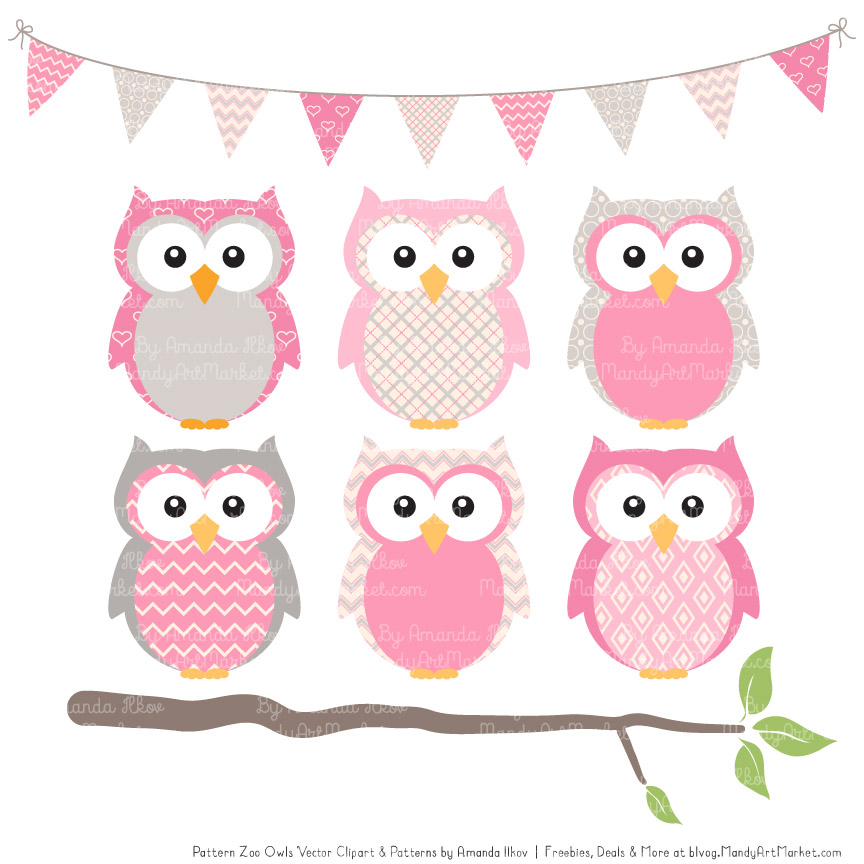 Pink Patterned Owl Clipart & Patterns.