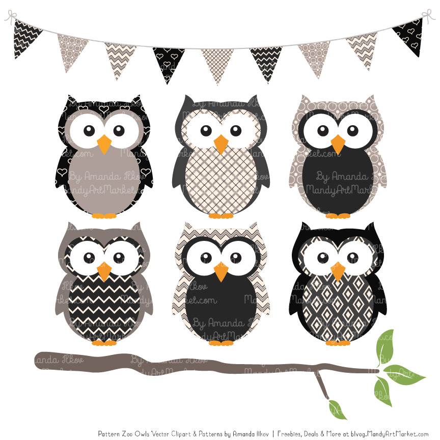 Black Patterned Owl Clipart & Patterns.