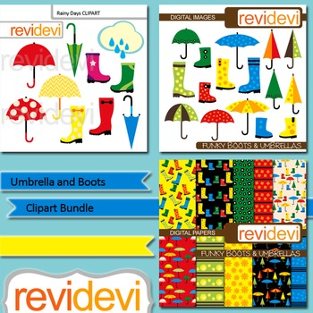 Umbrella and Boots Clip art Bundle (3 packs) clipart and digital papers.