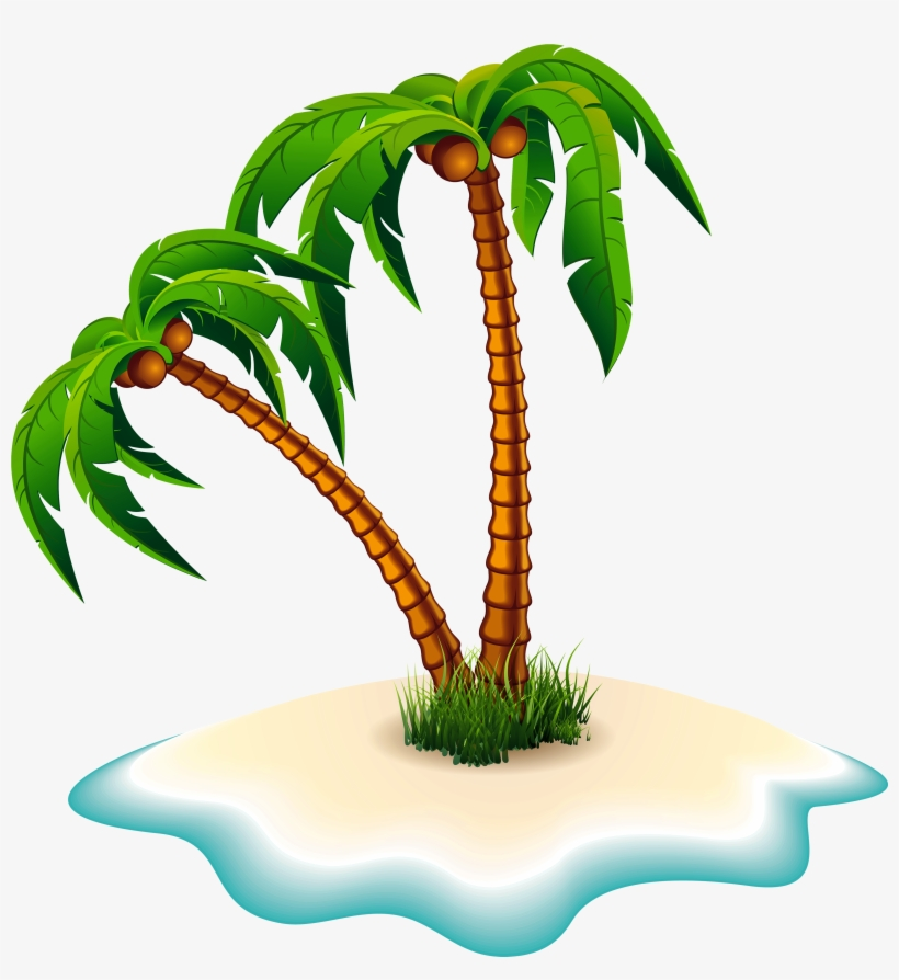 Palm Trees And Island Png Clipart Image.