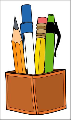 Clip Art: Pen & Pencil Holder Color 2 I abcteach.com.