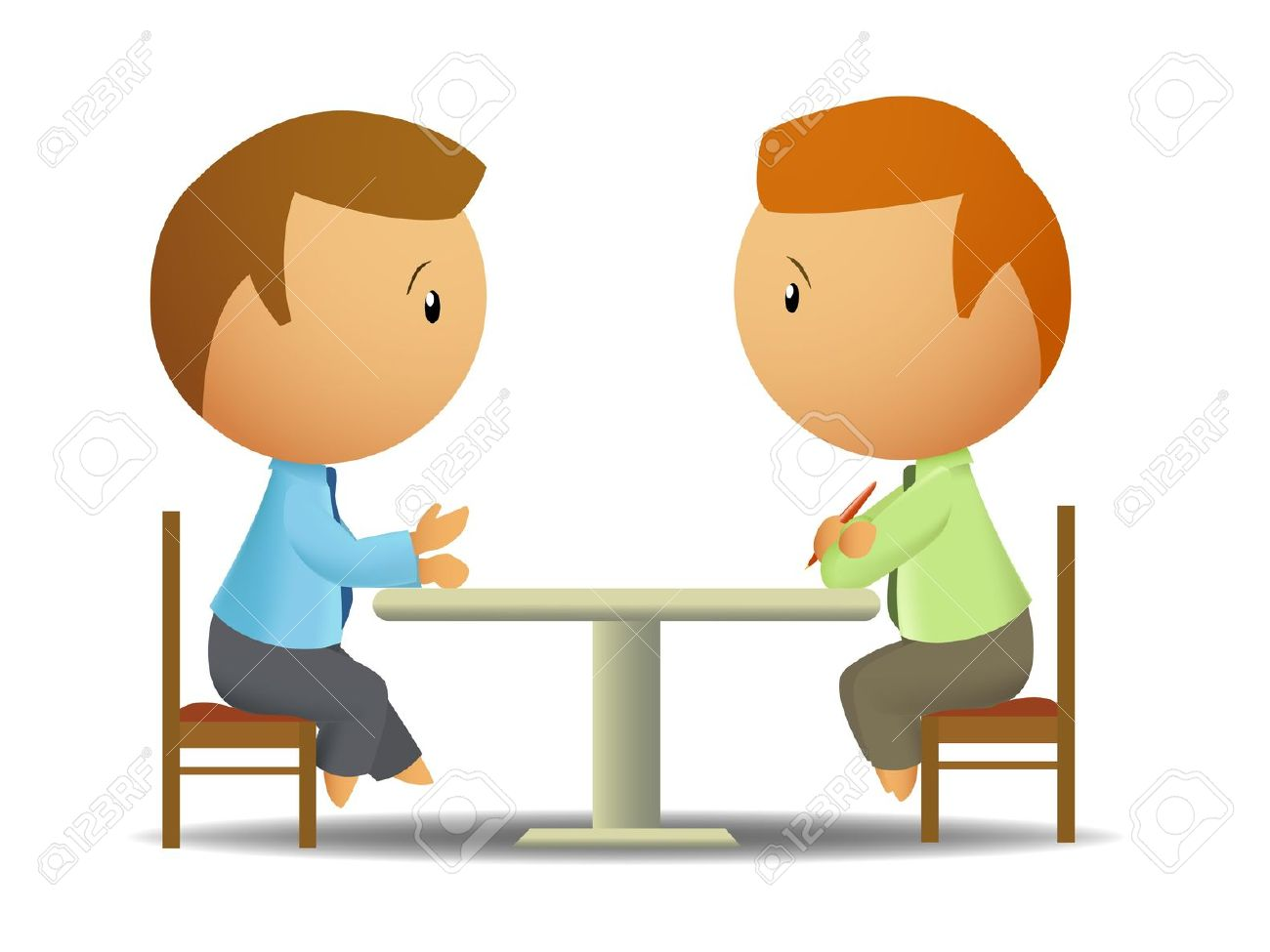 2 Girls Talking At A Table Clipart.