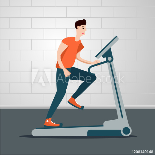 Young man is running on a treadmill. Indoor exercise cartoon.