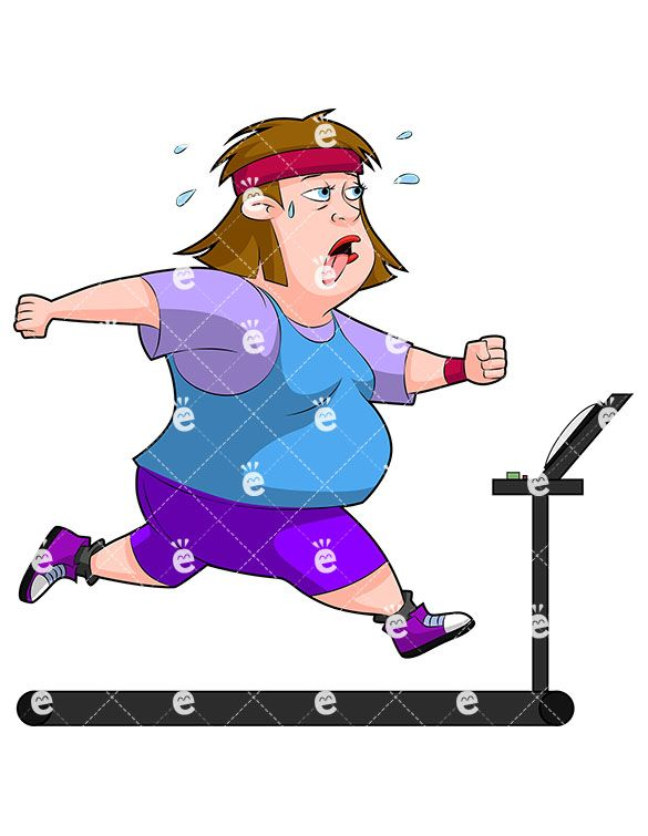 An Overweight Woman Running On A Treadmill, Sweating in 2019.