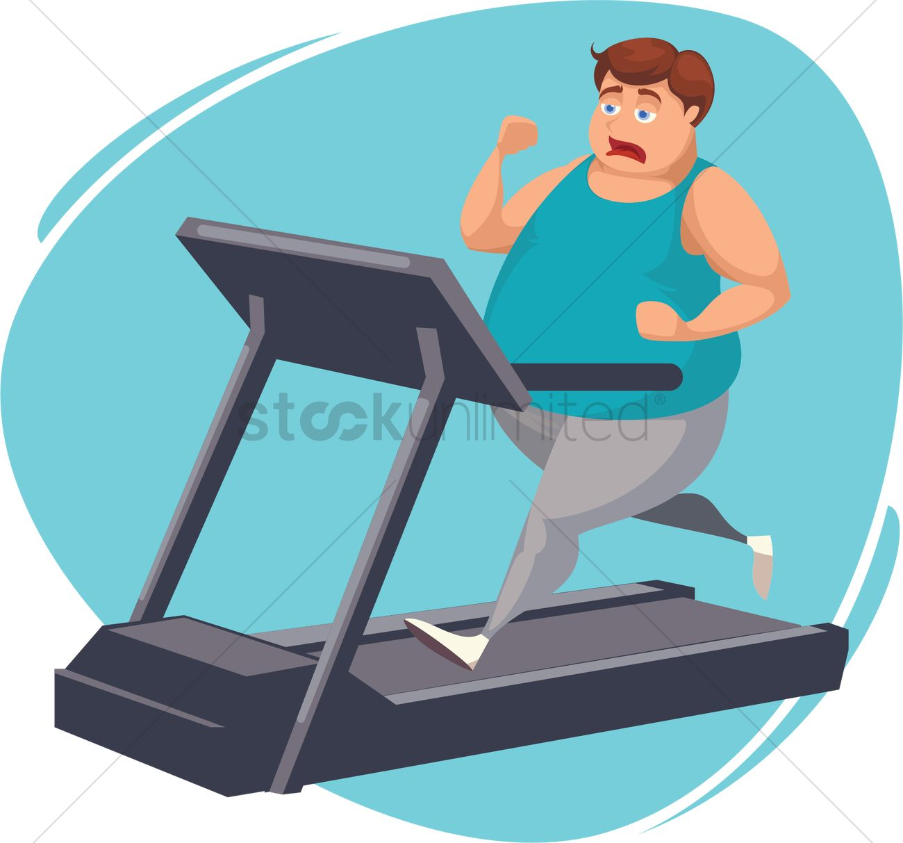 Fat man running on treadmill Vector Image.