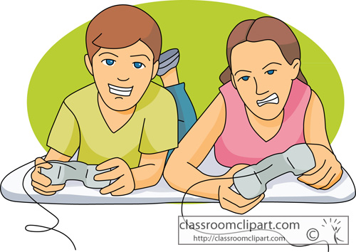 Free Clipart Kids Playing Video Game.