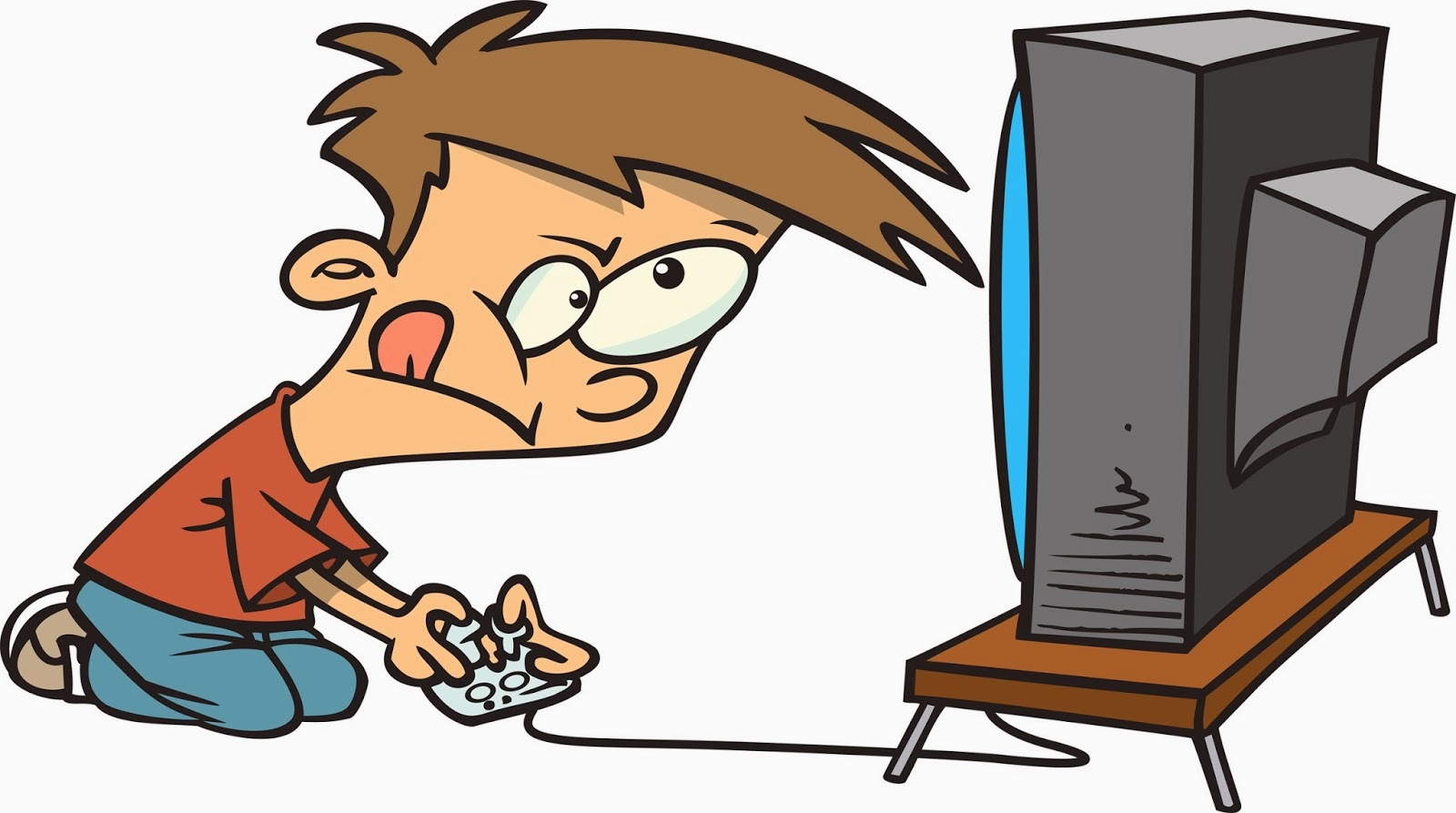 Kid Playing Video Games Clipart.