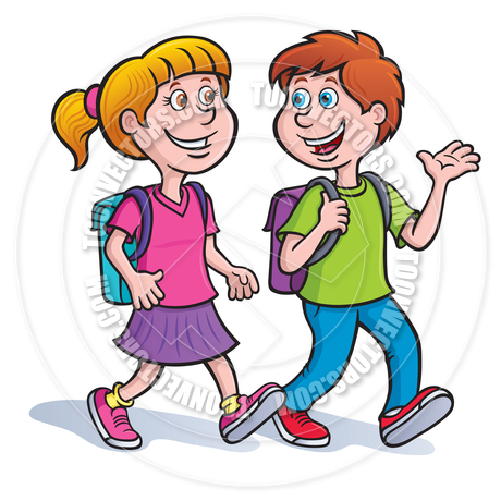 2 People Walking And Talking Clipart.