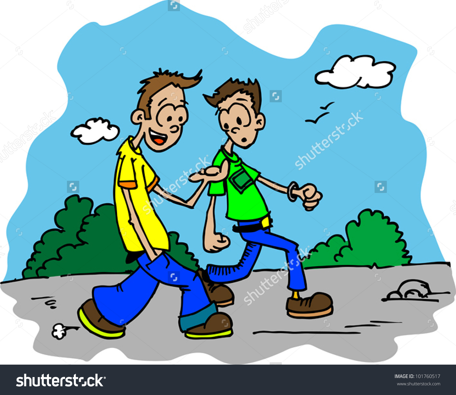Showing post & media for Two people walking cartoon.
