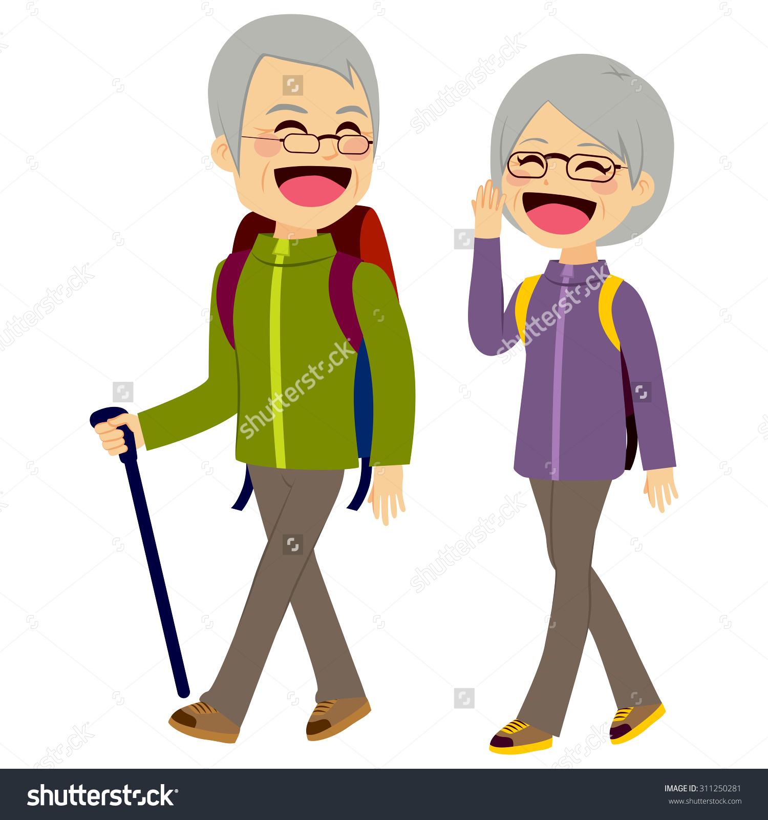 Showing post & media for Cartoon older couple laughing.