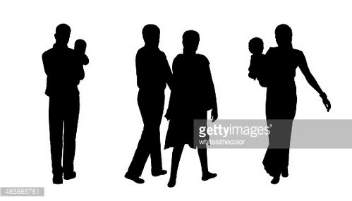 indian people walking silhouettes set 2 Clipart Image.