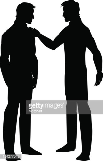 Silhouette of two men talking Clipart Image.
