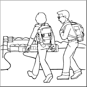 Kids Walking Clipart Black And White.